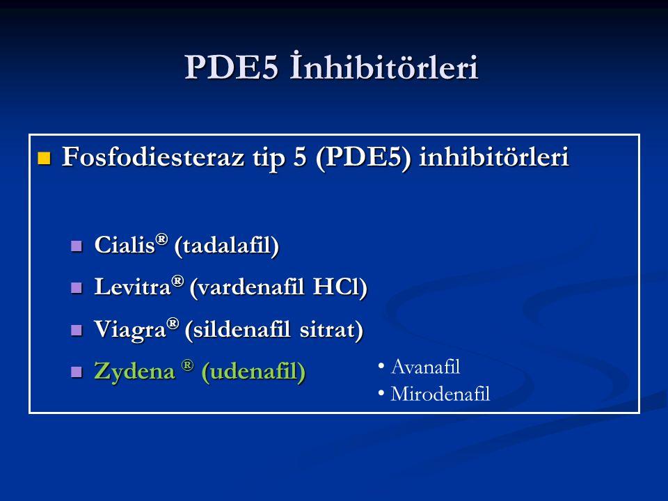 PDE5 İnhibitörleri Fosfodiesteraz tip 5 (PDE5) inhibitörleri Fosfodiesteraz tip 5 (PDE5) inhibitörleri Cialis ® (tadalafil) Cialis ® (tadalafil) Levitra ® (vardenafil HCl) Levitra ® (vardenafil HCl) Viagra ® (sildenafil sitrat) Viagra ® (sildenafil sitrat) Zydena ® (udenafil) Zydena ® (udenafil) Avanafil Mirodenafil