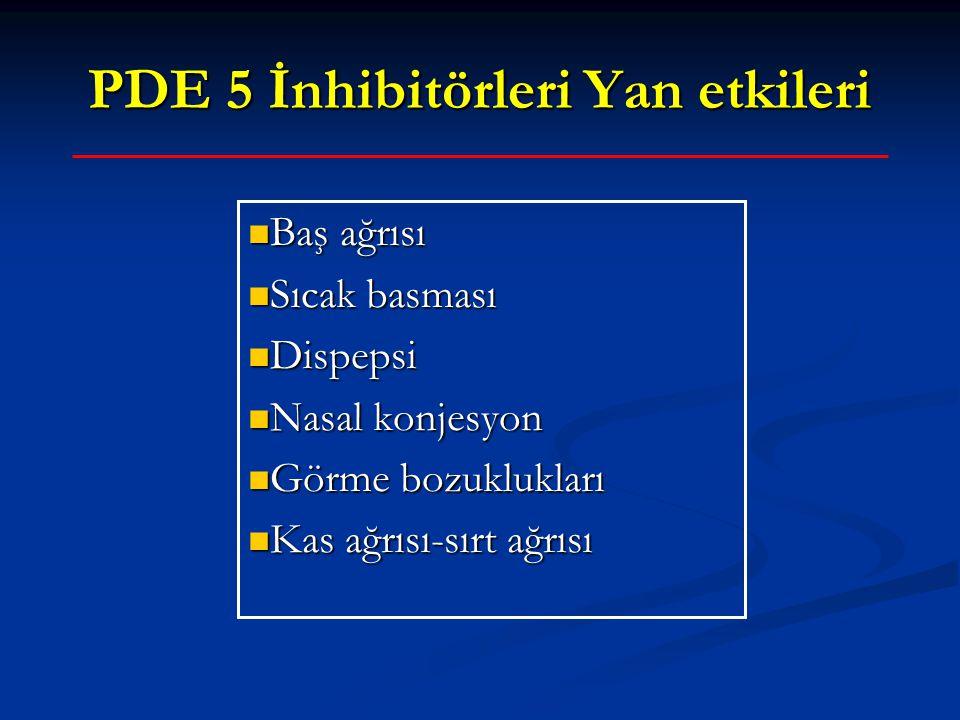 PDE 5 İnhibitörleri Yan etkileri Baş ağrısı Baş ağrısı Sıcak basması Sıcak basması Dispepsi Dispepsi Nasal konjesyon Nasal konjesyon Görme bozukluklar