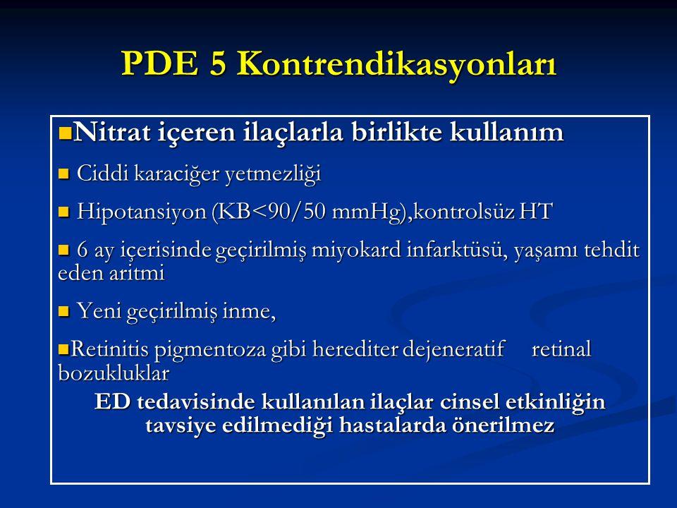 PDE 5 Kontrendikasyonları Nitrat içeren ilaçlarla birlikte kullanım Nitrat içeren ilaçlarla birlikte kullanım Ciddi karaciğer yetmezliği Ciddi karaciğ