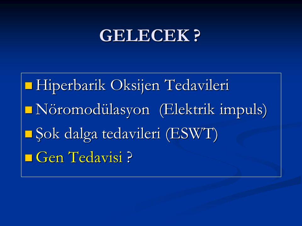 GELECEK ? Hiperbarik Oksijen Tedavileri Hiperbarik Oksijen Tedavileri Nöromodülasyon (Elektrik impuls) Nöromodülasyon (Elektrik impuls) Şok dalga teda
