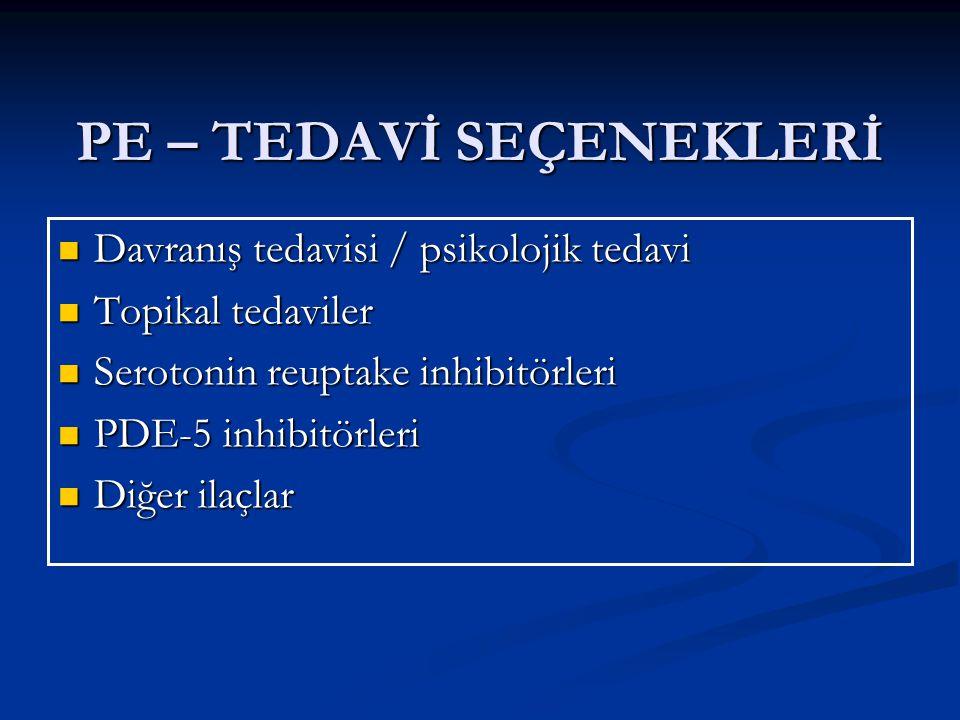 PE – TEDAVİ SEÇENEKLERİ Davranış tedavisi / psikolojik tedavi Davranış tedavisi / psikolojik tedavi Topikal tedaviler Topikal tedaviler Serotonin reuptake inhibitörleri Serotonin reuptake inhibitörleri PDE-5 inhibitörleri PDE-5 inhibitörleri Diğer ilaçlar Diğer ilaçlar
