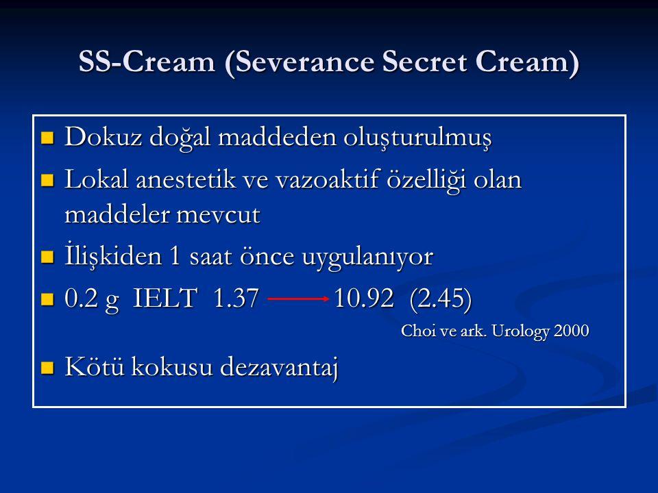 SS-Cream (Severance Secret Cream) Dokuz doğal maddeden oluşturulmuş Dokuz doğal maddeden oluşturulmuş Lokal anestetik ve vazoaktif özelliği olan maddeler mevcut Lokal anestetik ve vazoaktif özelliği olan maddeler mevcut İlişkiden 1 saat önce uygulanıyor İlişkiden 1 saat önce uygulanıyor 0.2 g IELT 1.37 10.92 (2.45) 0.2 g IELT 1.37 10.92 (2.45) Choi ve ark.
