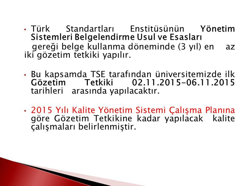Akademik ve idari birimler ile birlikte yürütülen kalite çalışmaları sonucunda 23-25 Haziran 2014 tarihlerinde Türk Standartları Enstitüsü tarafından gerçekleştirilen Belgelendirme Tetkiki sonucunda, «TS EN ISO 9001:2008» standardı çerçevesinde kalite belgesinin verilmesine karar verilmiştir.