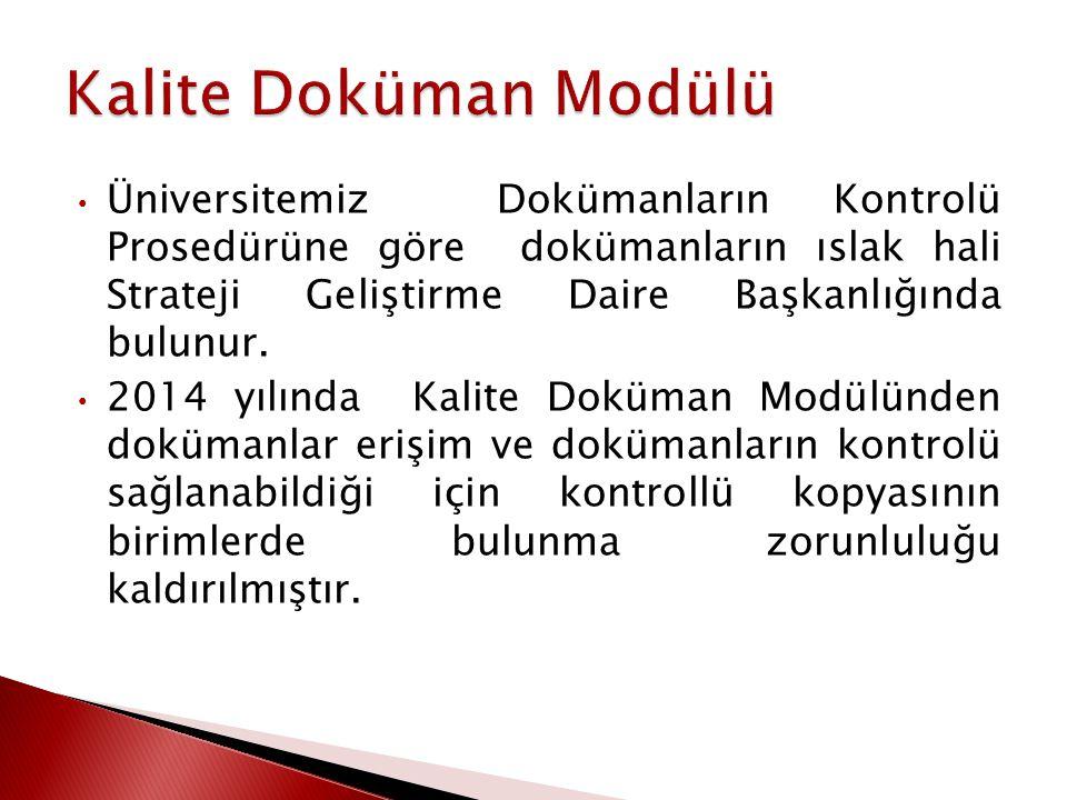 Üniversitemiz Bilgi Yönetim Sisteminde yer alan Kalite Yönetim Sistemi Modülünde yer alan Kalite Doküman Modülünde tüm kalite dokümanları yer almaktadır.
