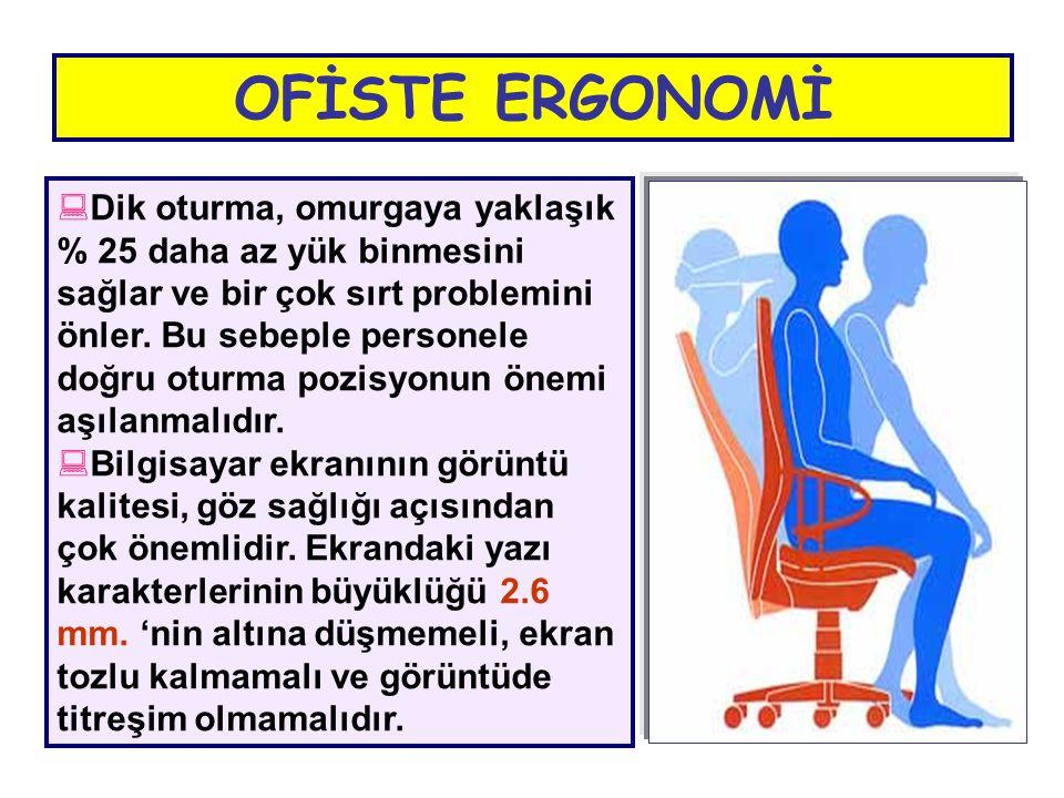  Dik oturma, omurgaya yaklaşık % 25 daha az yük binmesini sağlar ve bir çok sırt problemini önler. Bu sebeple personele doğru oturma pozisyonun önemi