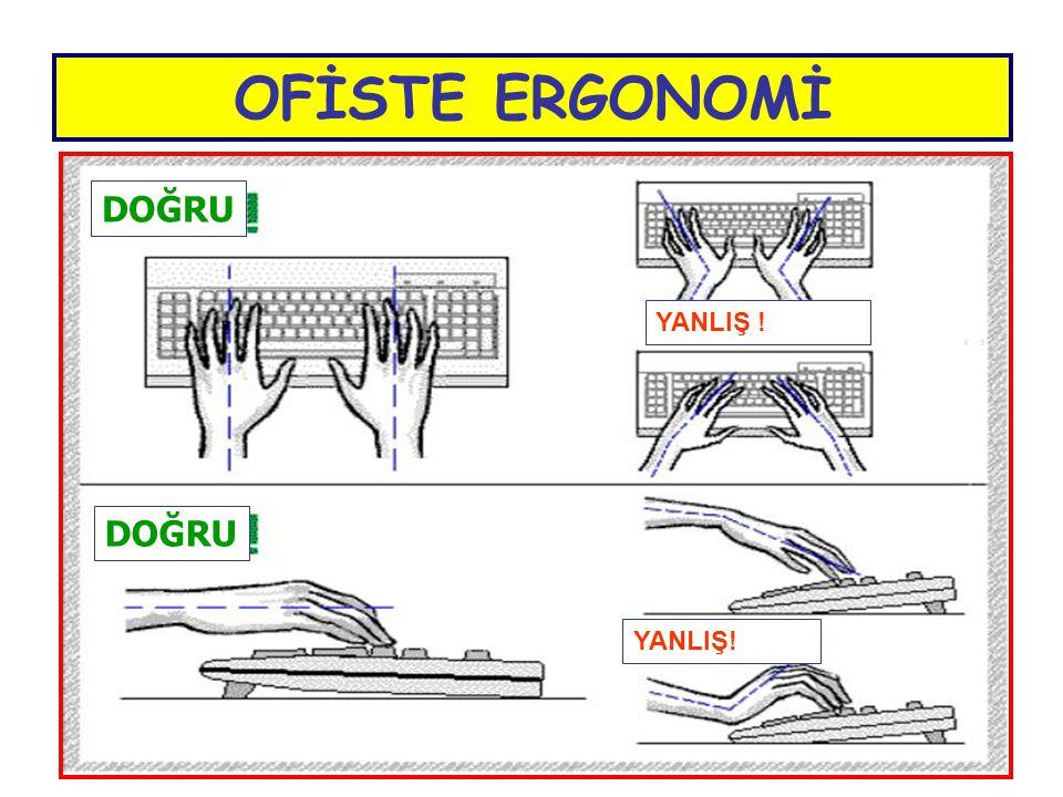 OFİSTE ERGONOMİ  Normal bir klavyede üçüncü sıranın masadan yüksekliği en az 3 cm dir.