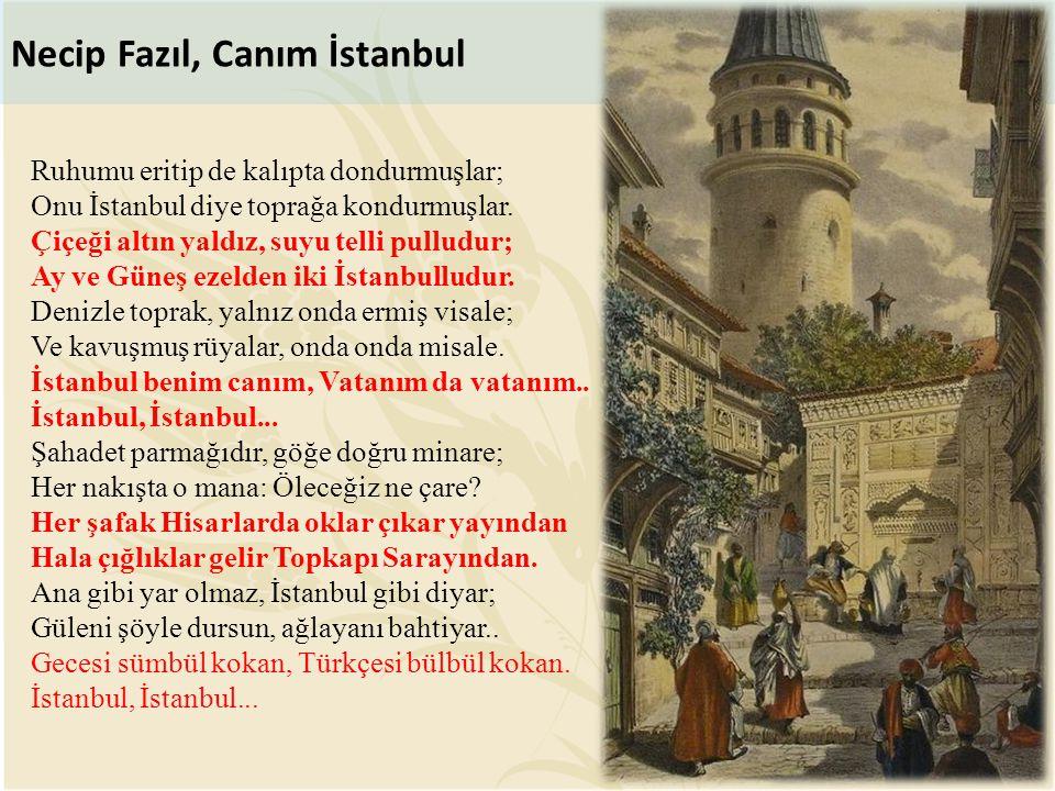 Ruhumu eritip de kalıpta dondurmuşlar; Onu İstanbul diye toprağa kondurmuşlar. Çiçeği altın yaldız, suyu telli pulludur; Ay ve Güneş ezelden iki İstan