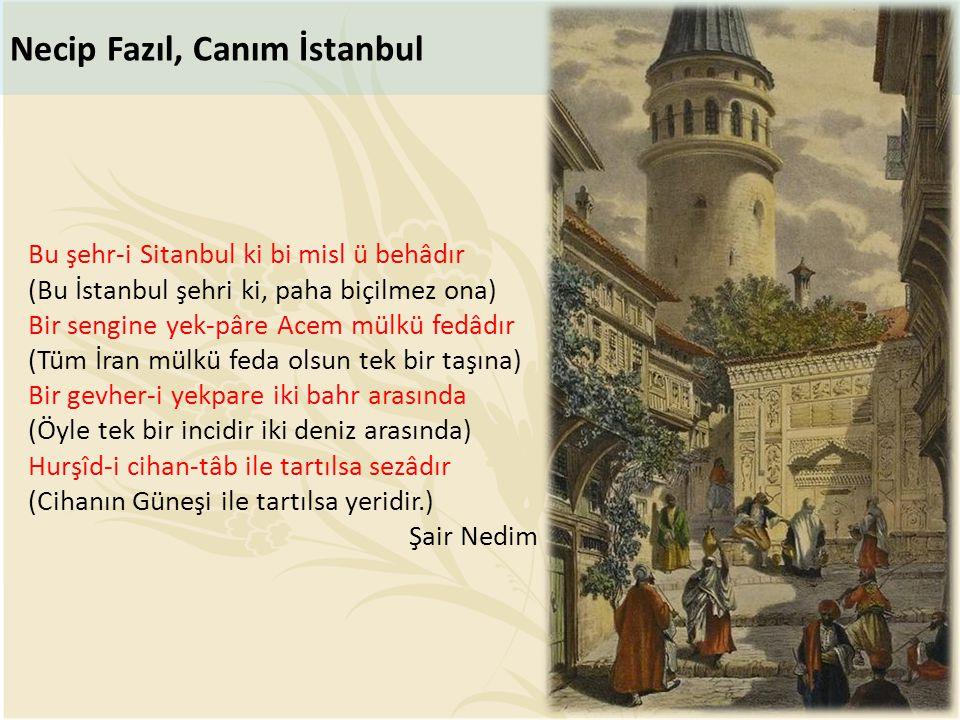 Bu şehr-i Sitanbul ki bi misl ü behâdır (Bu İstanbul şehri ki, paha biçilmez ona) Bir sengine yek-pâre Acem mülkü fedâdır (Tüm İran mülkü feda olsun t