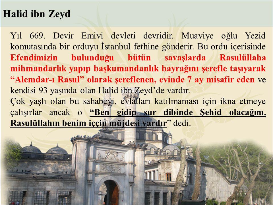 Yıl 669. Devir Emivi devleti devridir. Muaviye oğlu Yezid komutasında bir orduyu İstanbul fethine gönderir. Bu ordu içerisinde Efendimizin bulunduğu b