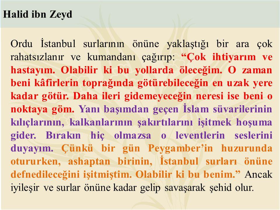 """Ordu İstanbul surlarının önüne yaklaştığı bir ara çok rahatsızlanır ve kumandanı çağırıp: """"Çok ihtiyarım ve hastayım. Olabilir ki bu yollarda öleceğim"""