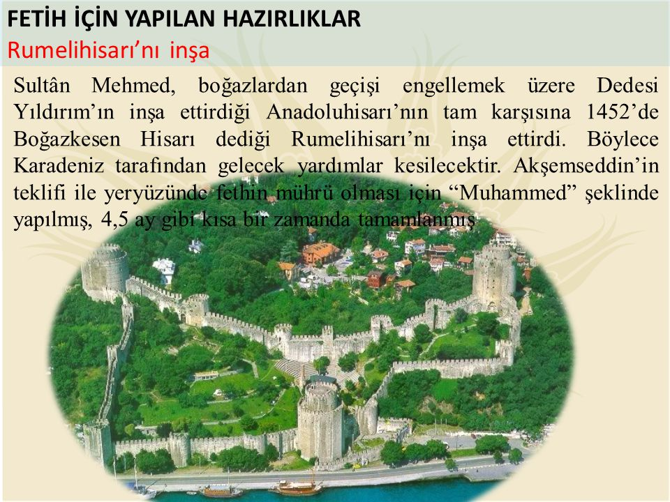 FETİH İÇİN YAPILAN HAZIRLIKLAR Rumelihisarı'nı inşa Sultân Mehmed, boğazlardan geçişi engellemek üzere Dedesi Yıldırım'ın inşa ettirdiği Anadoluhisarı