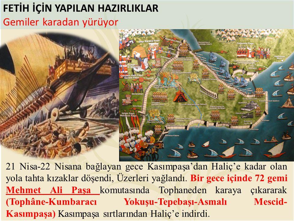 FETİH İÇİN YAPILAN HAZIRLIKLAR Gemiler karadan yürüyor 21 Nisa-22 Nisana bağlayan gece Kasımpaşa'dan Haliç'e kadar olan yola tahta kızaklar döşendi, Ü