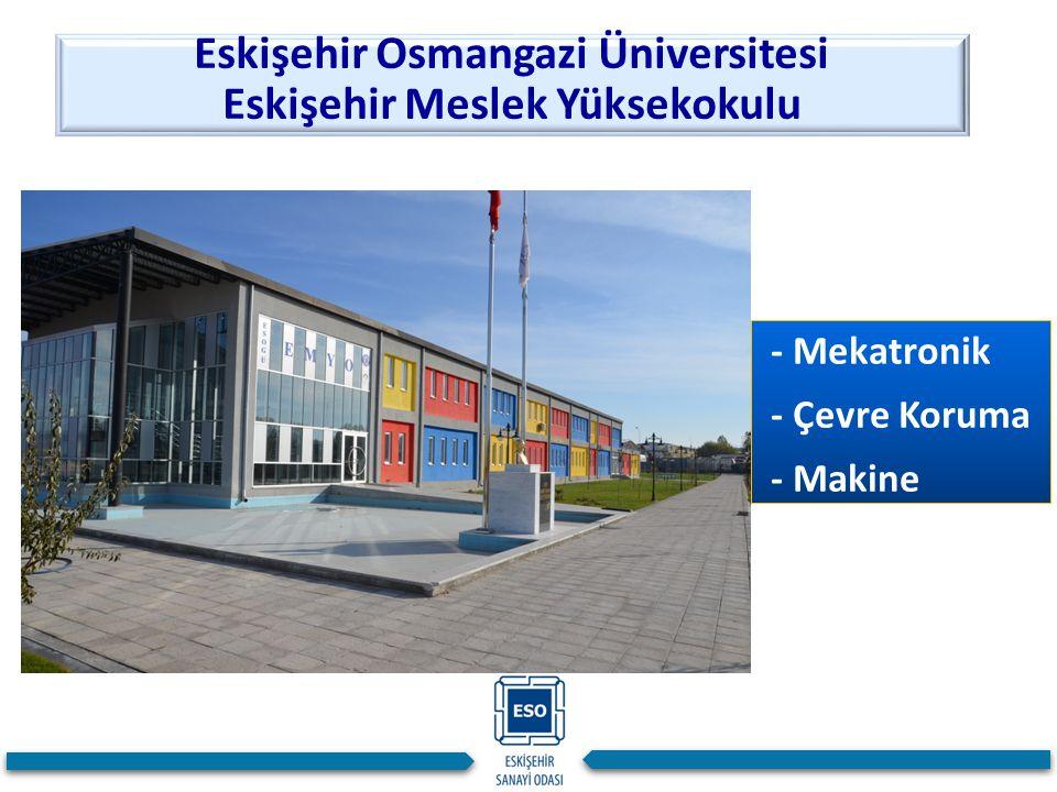 - Mekatronik - Çevre Koruma - Makine Eskişehir Osmangazi Üniversitesi Eskişehir Meslek Yüksekokulu