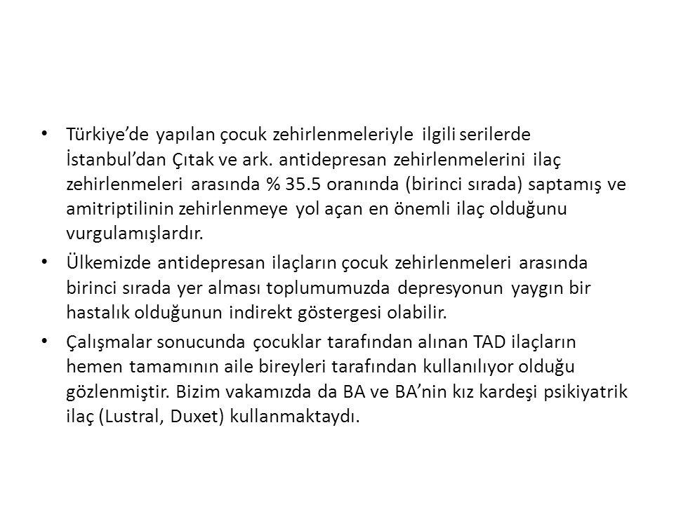Türkiye'de yapılan çocuk zehirlenmeleriyle ilgili serilerde İstanbul'dan Çıtak ve ark.