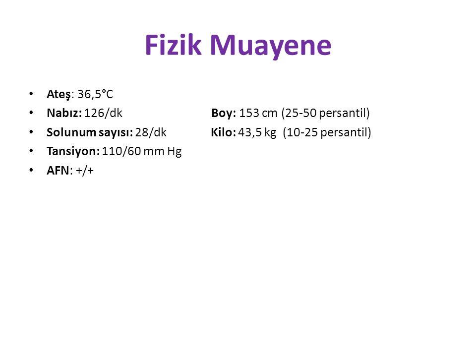 Fizik Muayene Ateş: 36,5°C Nabız: 126/dk Boy: 153 cm (25-50 persantil) Solunum sayısı: 28/dk Kilo: 43,5 kg (10-25 persantil) Tansiyon: 110/60 mm Hg AFN: +/+