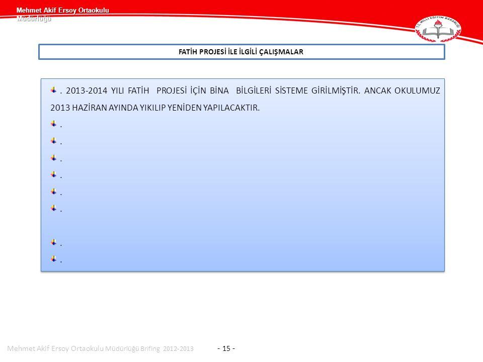 Mehmet Akif Ersoy Ortaokulu Müdürlüğü FATİH PROJESİ İLE İLGİLİ ÇALIŞMALAR Mehmet Akif Ersoy Ortaokulu Müdürlüğü Brifing 2012-2013 - 15 -.
