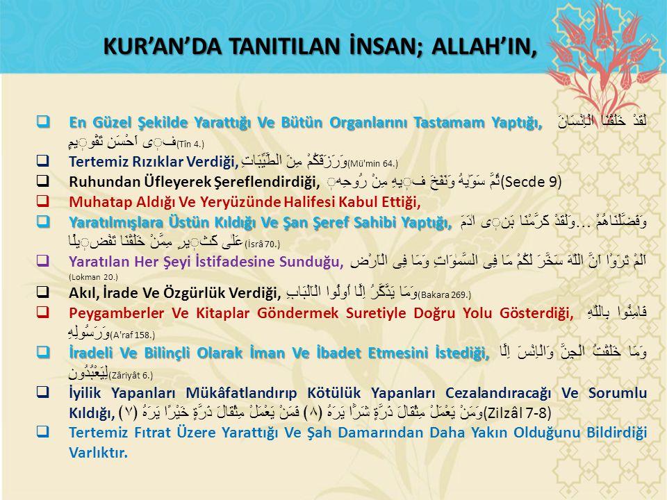 KUR'AN'DA TANITILAN İNSAN; ALLAH'IN,  En Güzel Şekilde Yarattığı Ve Bütün Organlarını Tastamam Yaptığı,  En Güzel Şekilde Yarattığı Ve Bütün Organla