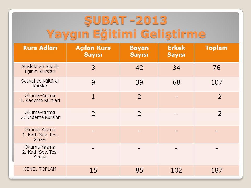 ŞUBAT -2013 Yaygın Eğitimi Geliştirme Kurs AdlarıAçılan Kurs Sayısı Bayan Sayısı Erkek Sayısı Toplam Mesleki ve Teknik Eğitim Kursları 3423476 Sosyal