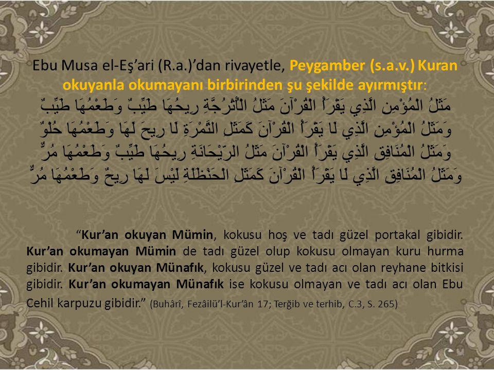 Ebu Musa el-Eş'ari (R.a.)'dan rivayetle, Peygamber (s.a.v.) Kuran okuyanla okumayanı birbirinden şu şekilde ayırmıştır: مَثَلُ الْمُؤْمِنِ الَّذِي يَق
