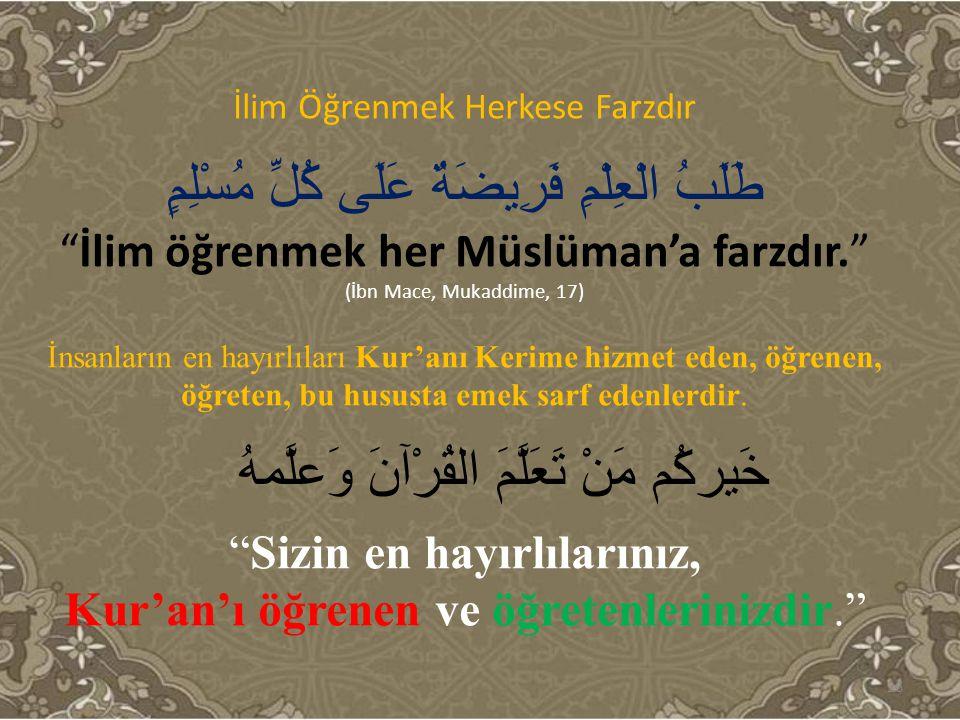 """İlim Öğrenmek Herkese Farzdır طَلَبُ الْعِلْمِ فَرِيضَةٌ عَلَى كُلِّ مُسْلِمٍ """"İlim öğrenmek her Müslüman'a farzdır."""" (İbn Mace, Mukaddime, 17) İnsanl"""