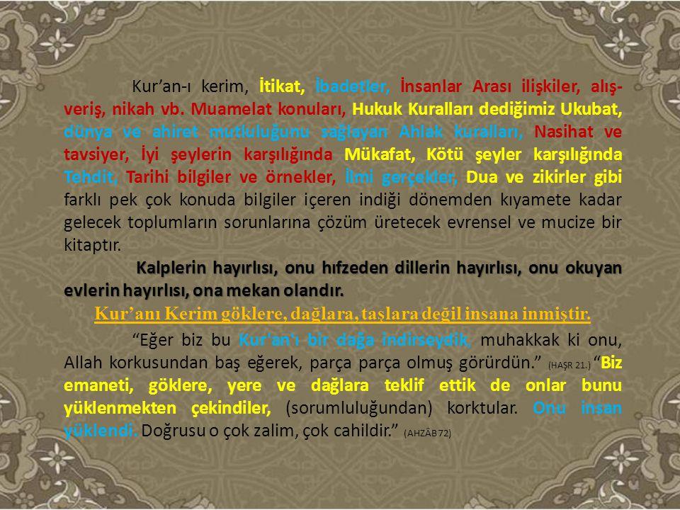 Kur'an-ı kerim, İtikat, İbadetler, İnsanlar Arası ilişkiler, alış- veriş, nikah vb. Muamelat konuları, Hukuk Kuralları dediğimiz Ukubat, dünya ve ahir