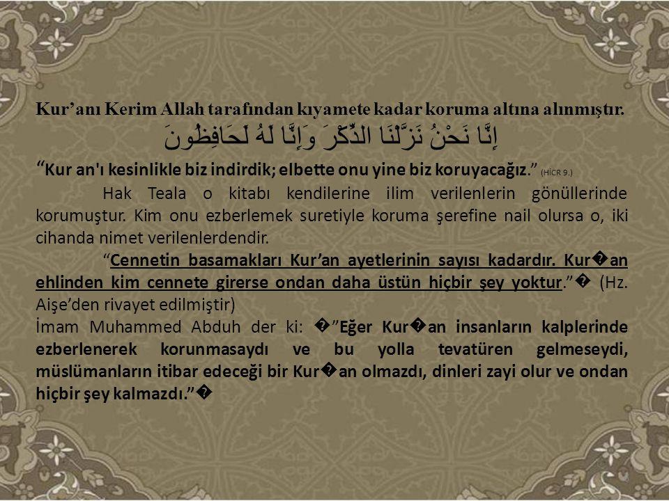 """Kur'anı Kerim Allah tarafından kıyamete kadar koruma altına alınmıştır. إِنَّا نَحْنُ نَزَّلْنَا الذِّكْرَ وَإِنَّا لَهُ لَحَافِظُونَ """" Kur an'ı kesin"""