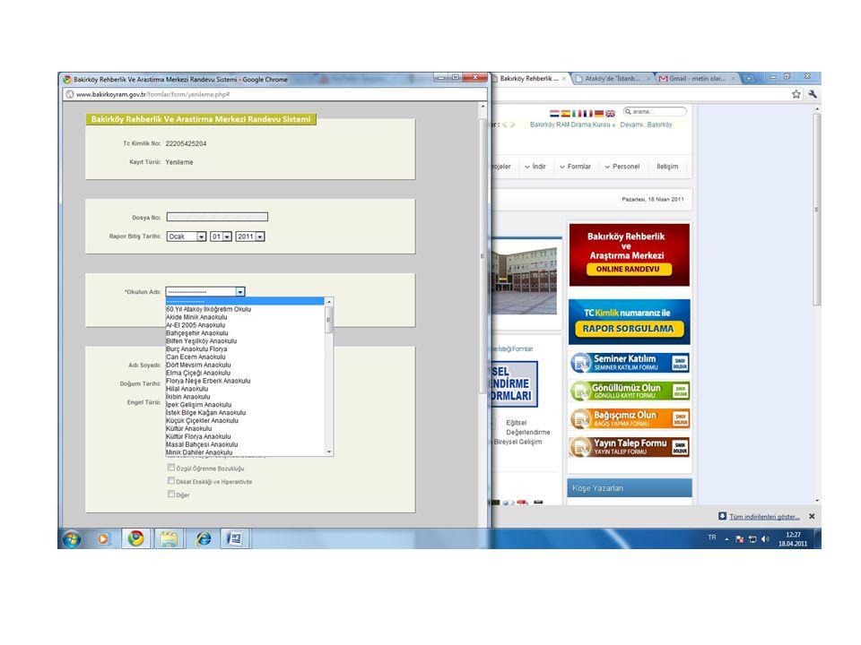 Uygulama Süreci Öncelikle ONLİNE RANDEVU ve RAPOR SORGULAMA sistemi konusunda yazılım geliştirilmiştir.
