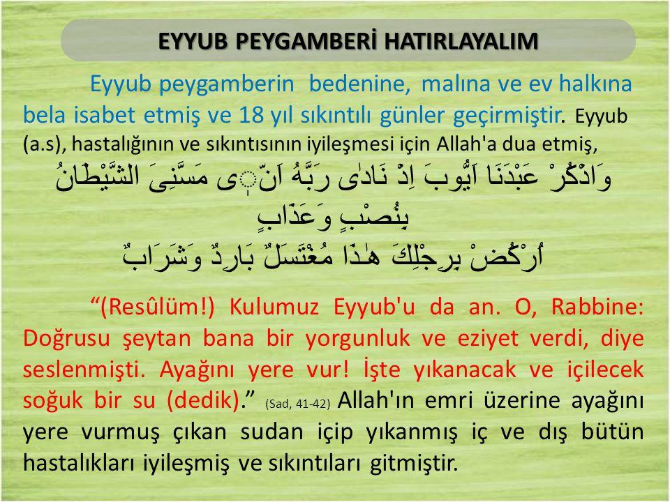Eyyub peygamberin bedenine, malına ve ev halkına bela isabet etmiş ve 18 yıl sıkıntılı günler geçirmiştir. Eyyub (a.s), hastalığının ve sıkıntısının i