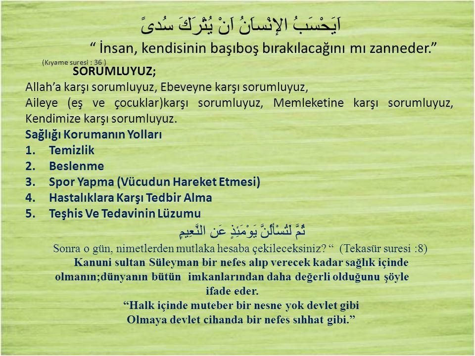 """اَيَحْسَبُ الإنْساَنُ اَنْ يُتْرَكَ سُدىً """" İnsan, kendisinin başıboş bırakılacağını mı zanneder."""" (Kıyame suresi : 36 ) SORUMLUYUZ; Allah'a karşı sor"""