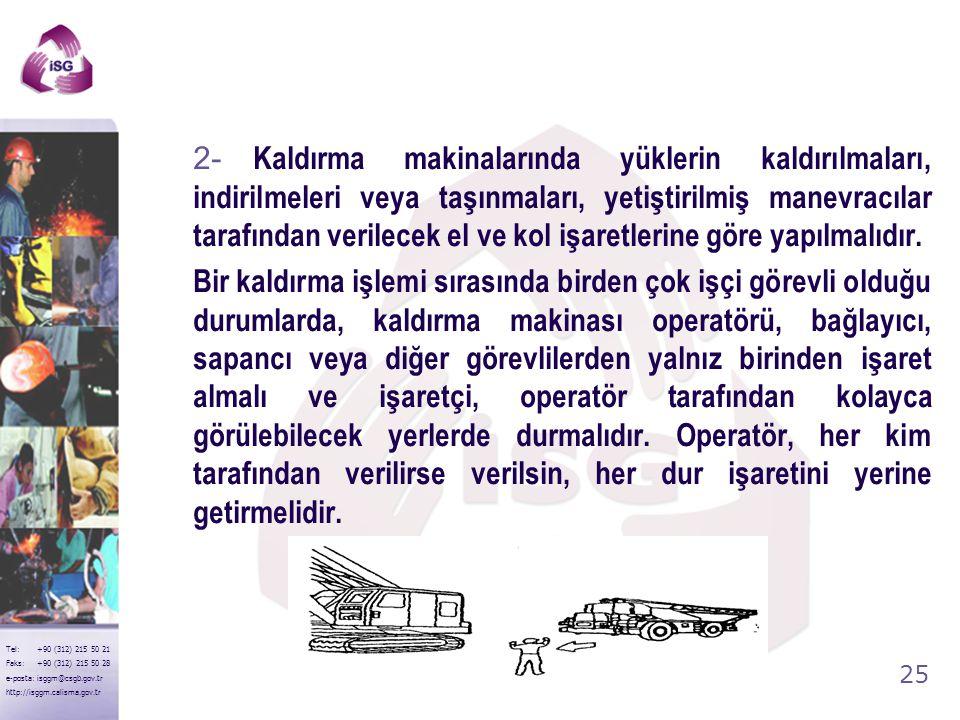 24 Tel: +90 (312) 215 50 21 Faks: +90 (312) 215 50 28 e-posta: isggm@csgb.gov.tr http://isggm.calisma.gov.tr Kaldırma araç ve makinalarında meydana ge