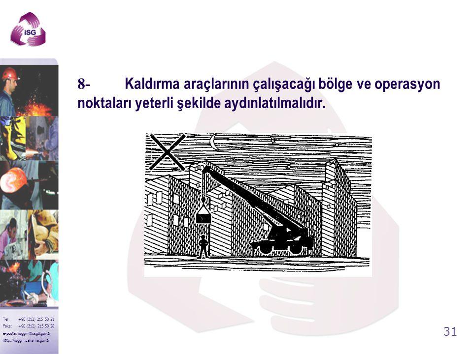 30 Tel: +90 (312) 215 50 21 Faks: +90 (312) 215 50 28 e-posta: isggm@csgb.gov.tr http://isggm.calisma.gov.tr 7-Yüklerin vinçlere asılı olarak taşınmas