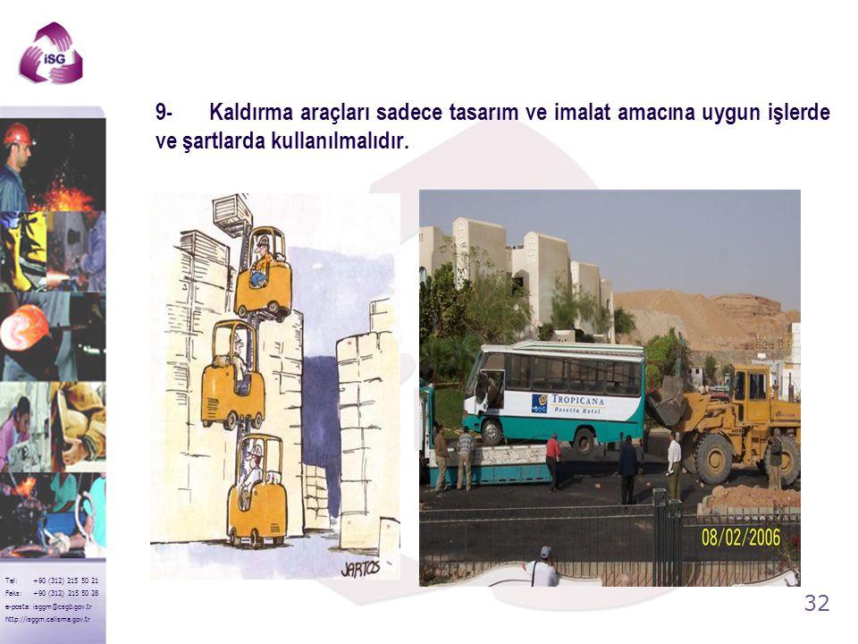 31 Tel: +90 (312) 215 50 21 Faks: +90 (312) 215 50 28 e-posta: isggm@csgb.gov.tr http://isggm.calisma.gov.tr 8- Kaldırma araçlarının çalışacağı bölge
