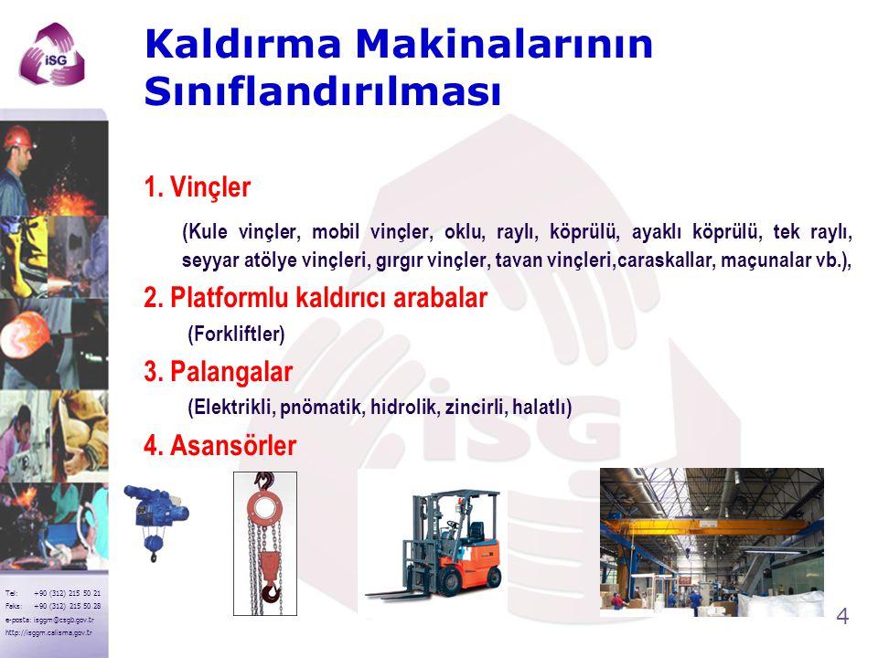 4 Tel: +90 (312) 215 50 21 Faks: +90 (312) 215 50 28 e-posta: isggm@csgb.gov.tr http://isggm.calisma.gov.tr Kaldırma Makinalarının Sınıflandırılması 1.