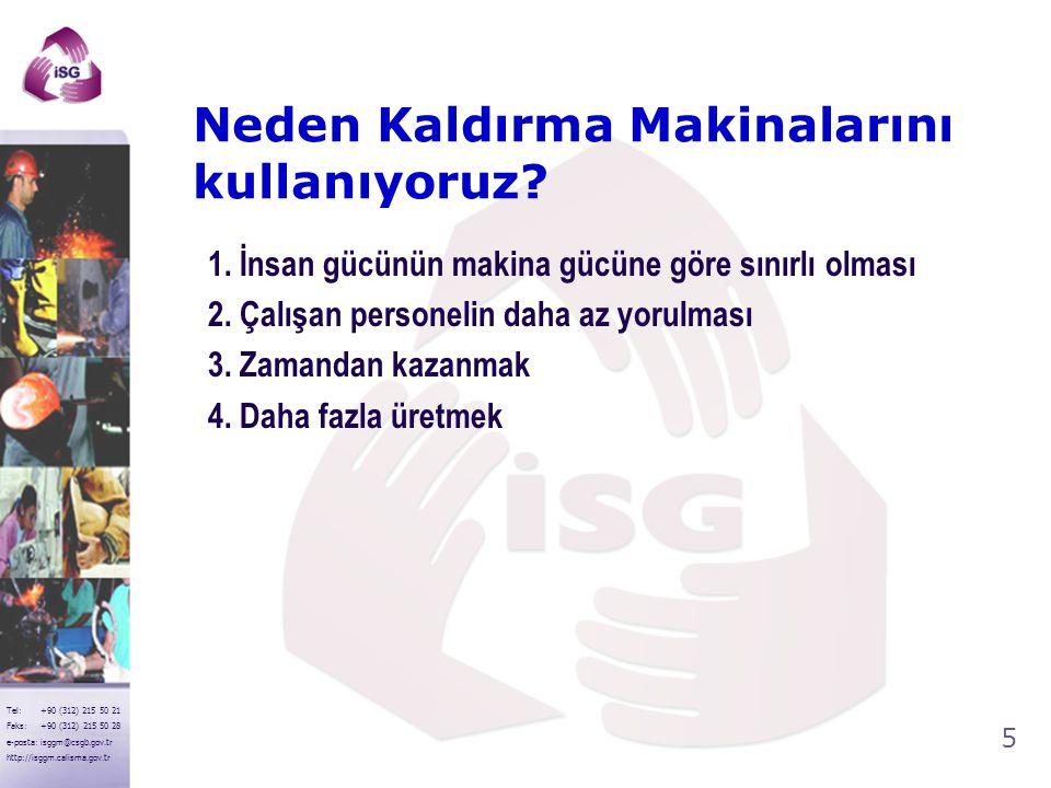4 Tel: +90 (312) 215 50 21 Faks: +90 (312) 215 50 28 e-posta: isggm@csgb.gov.tr http://isggm.calisma.gov.tr Kaldırma Makinalarının Sınıflandırılması 1