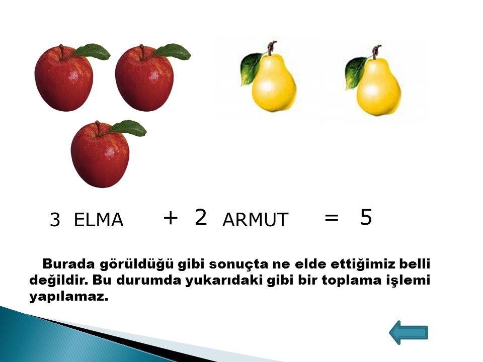 3ELMA +2 ARMUT =5 Burada görüldüğü gibi sonuçta ne elde ettiğimiz belli değildir.