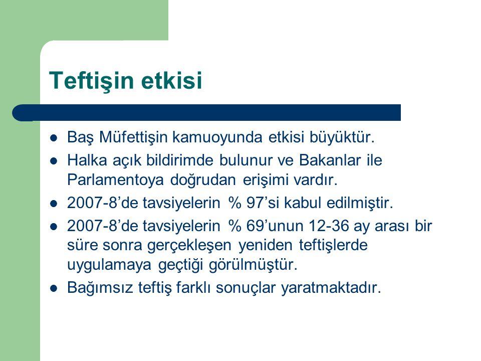 Teftişin etkisi Baş Müfettişin kamuoyunda etkisi büyüktür. Halka açık bildirimde bulunur ve Bakanlar ile Parlamentoya doğrudan erişimi vardır. 2007-8'