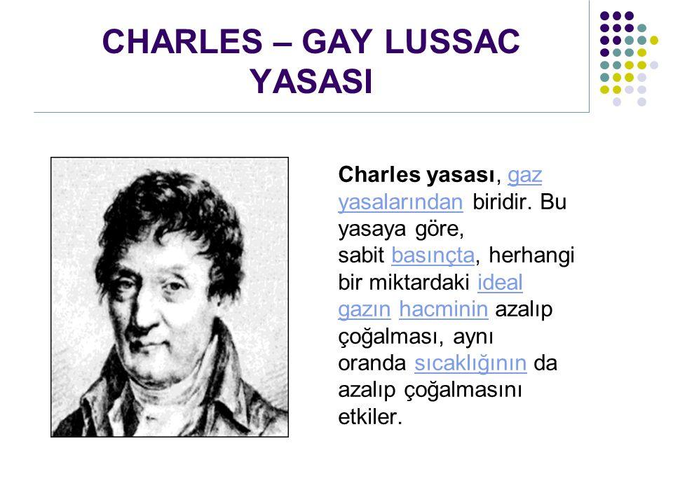 CHARLES – GAY LUSSAC YASASI Charles yasası, gaz yasalarından biridir. Bu yasaya göre, sabit basınçta, herhangi bir miktardaki ideal gazın hacminin aza