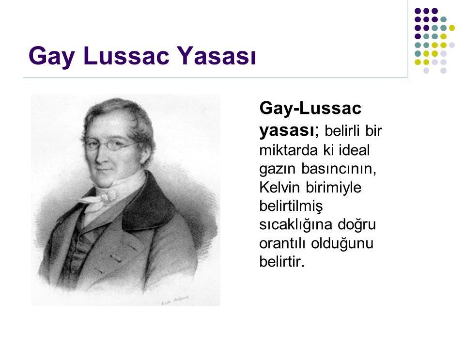 Gay Lussac Yasası Gay-Lussac yasası; belirli bir miktarda ki ideal gazın basıncının, Kelvin birimiyle belirtilmiş sıcaklığına doğru orantılı olduğunu