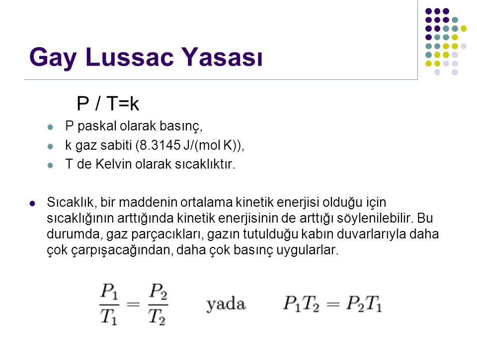 Gay Lussac Yasası P / T=k P paskal olarak basınç, k gaz sabiti (8.3145 J/(mol K)), T de Kelvin olarak sıcaklıktır. Sıcaklık, bir maddenin ortalama kin
