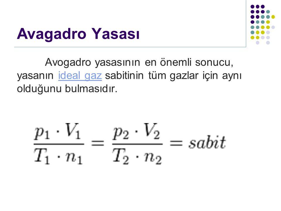 Avagadro Yasası Avogadro yasasının en önemli sonucu, yasanın ideal gaz sabitinin tüm gazlar için aynı olduğunu bulmasıdır.ideal gaz