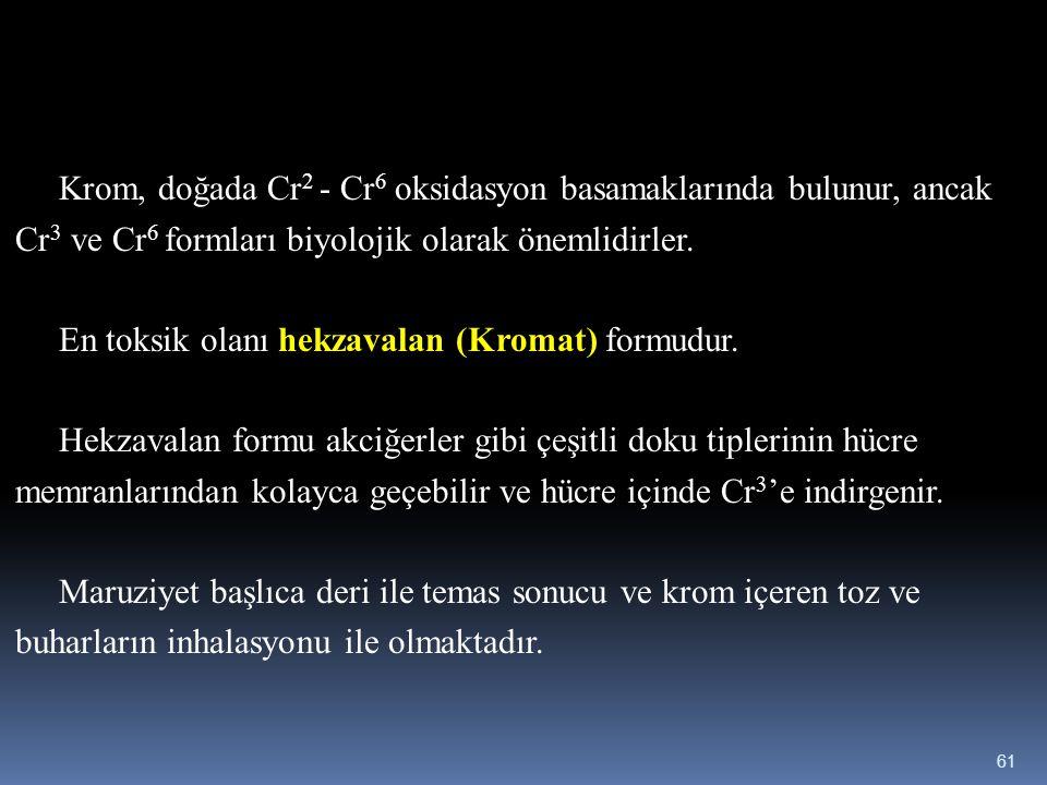 Krom, doğada Cr 2 - Cr 6 oksidasyon basamaklarında bulunur, ancak Cr 3 ve Cr 6 formları biyolojik olarak önemlidirler. En toksik olanı hekzavalan (Kro
