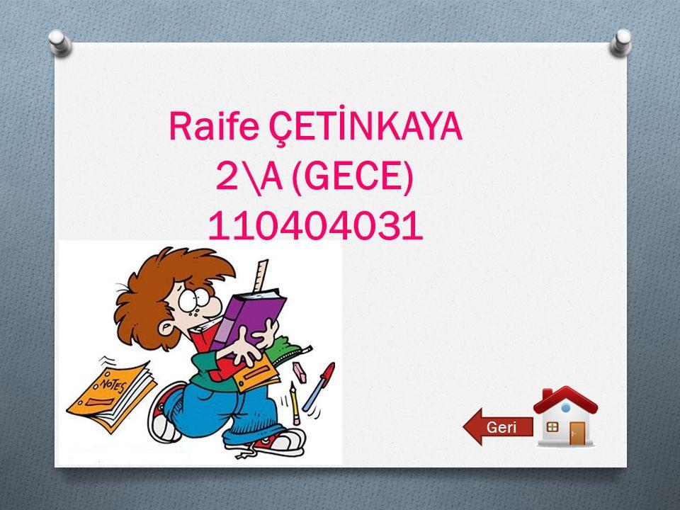 Raife ÇETİNKAYA 2\A (GECE) 110404031 Geri