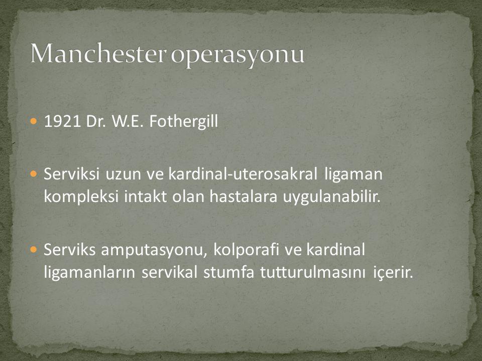 1921 Dr. W.E. Fothergill Serviksi uzun ve kardinal-uterosakral ligaman kompleksi intakt olan hastalara uygulanabilir. Serviks amputasyonu, kolporafi v