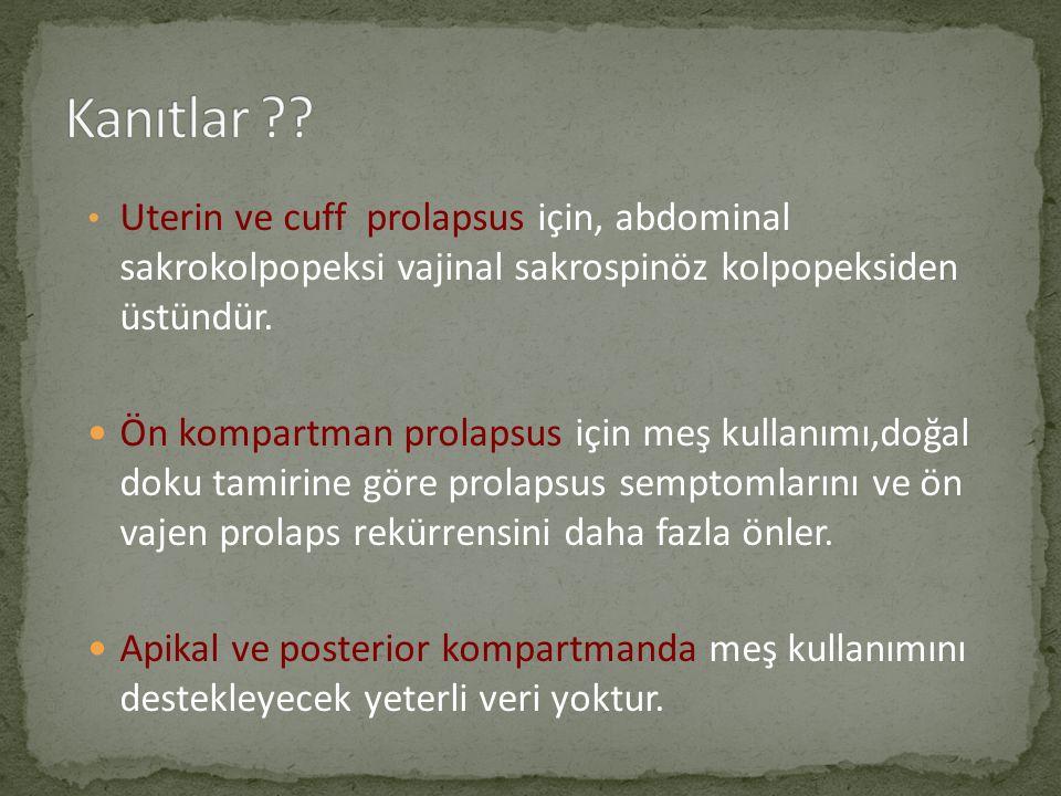 Uterin ve cuff prolapsus için, abdominal sakrokolpopeksi vajinal sakrospinöz kolpopeksiden üstündür. Ön kompartman prolapsus için meş kullanımı,doğal