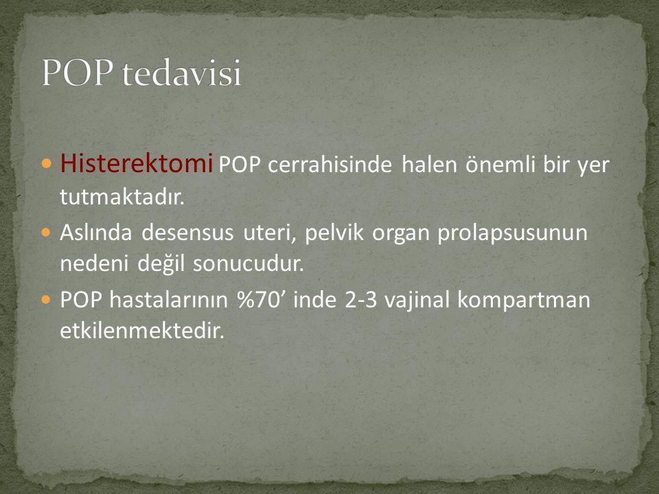 Histerektomi POP cerrahisinde halen önemli bir yer tutmaktadır. Aslında desensus uteri, pelvik organ prolapsusunun nedeni değil sonucudur. POP hastala