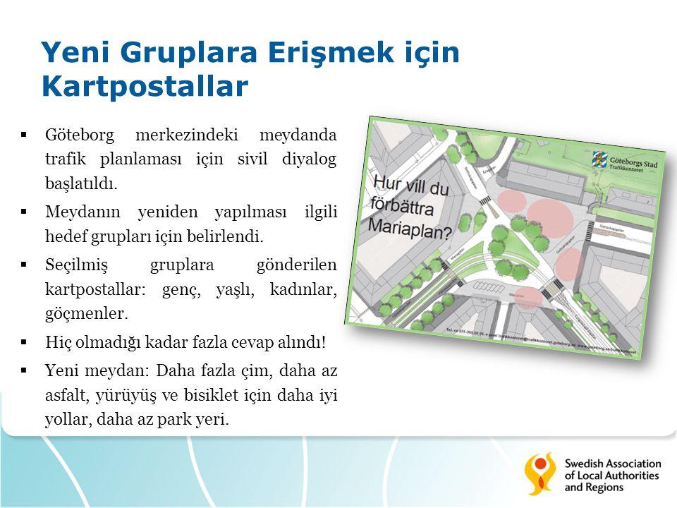 Yeni Gruplara Erişmek için Kartpostallar  Göteborg merkezindeki meydanda trafik planlaması için sivil diyalog başlatıldı.