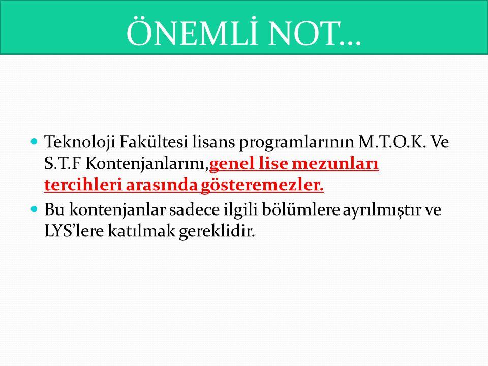 ÖNEMLİ NOT… Teknoloji Fakültesi lisans programlarının M.T.O.K. Ve S.T.F Kontenjanlarını,genel lise mezunları tercihleri arasında gösteremezler. Bu kon