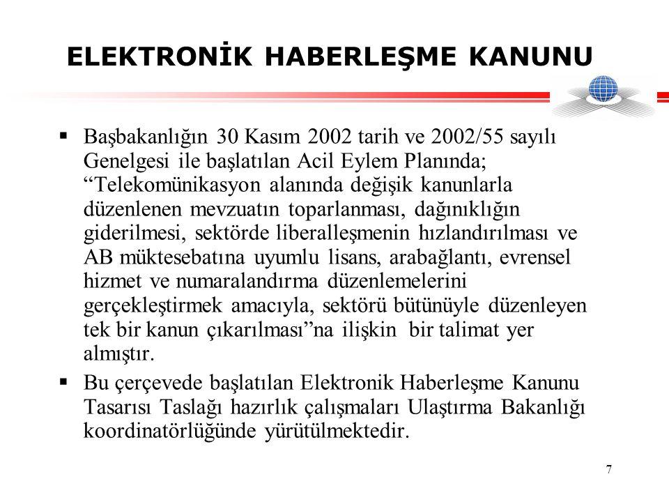 7 ELEKTRONİK HABERLEŞME KANUNU  Başbakanlığın 30 Kasım 2002 tarih ve 2002/55 sayılı Genelgesi ile başlatılan Acil Eylem Planında; Telekomünikasyon alanında değişik kanunlarla düzenlenen mevzuatın toparlanması, dağınıklığın giderilmesi, sektörde liberalleşmenin hızlandırılması ve AB müktesebatına uyumlu lisans, arabağlantı, evrensel hizmet ve numaralandırma düzenlemelerini gerçekleştirmek amacıyla, sektörü bütünüyle düzenleyen tek bir kanun çıkarılması na ilişkin bir talimat yer almıştır.