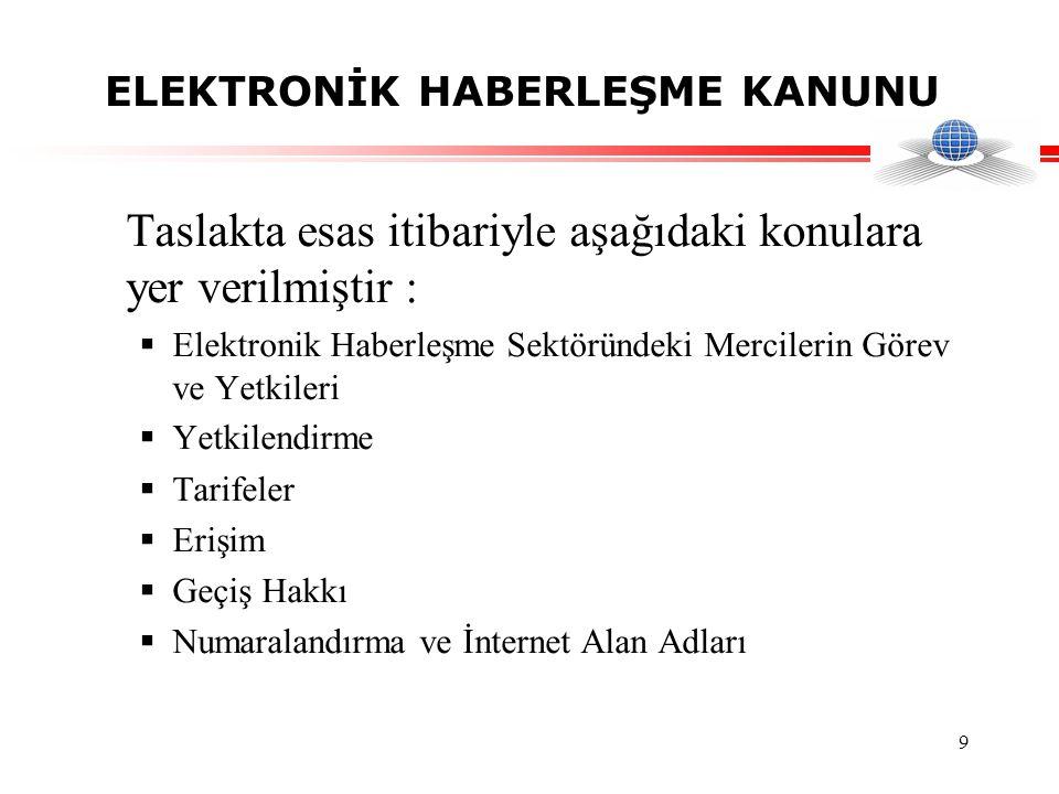 9 ELEKTRONİK HABERLEŞME KANUNU Taslakta esas itibariyle aşağıdaki konulara yer verilmiştir :  Elektronik Haberleşme Sektöründeki Mercilerin Görev ve Yetkileri  Yetkilendirme  Tarifeler  Erişim  Geçiş Hakkı  Numaralandırma ve İnternet Alan Adları
