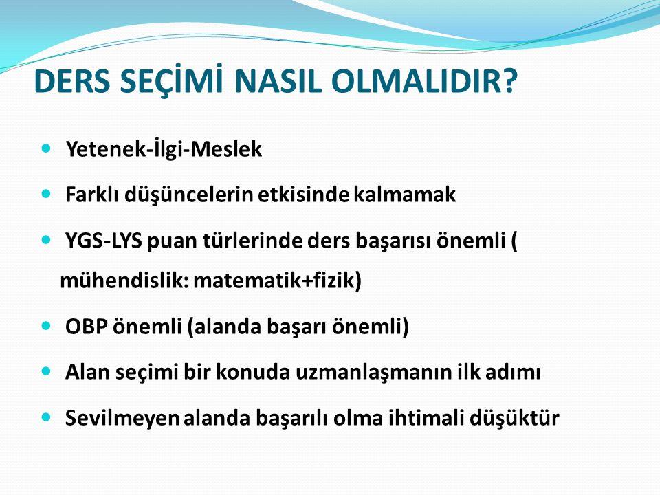 DERS SEÇİMİ NASIL OLMALIDIR.